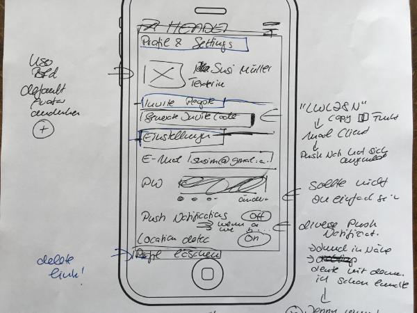 frühe Papier Skizze UX Design